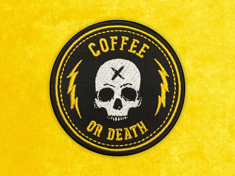 Dribbble Patch Coffee Or Death coffee skull indie badge embroidery art matthew johnson seventhink illustration patchlife patchgame patch