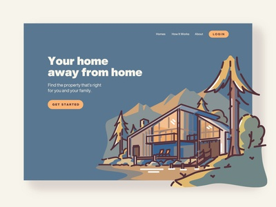 Property Landing Page branding design forest pine tree property management camping vector landing page design landing page linework illustration