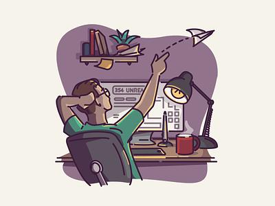 Freelance Life freelance home office illustrator desk vector icon linework illustration