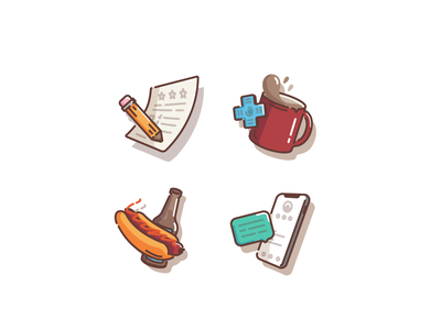 Icon set iphone iconset contact portfolio hotdog beer games retro coffee cup coffee branding ui vector icon linework illustration