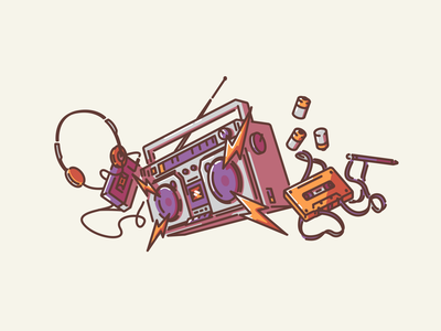 Jam! icon vector linework illustration speakers music batteries headphones tape cassette player cassette tape cassette boombox