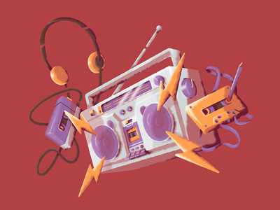 Jammin with Texture beats tape cassette walkman retro music boom box boombox textured illustration texture ux ui design vector illustration