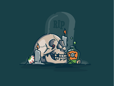 Halloween hangover gravestone graveyard poison skull halloween logo icon vector linework illustration