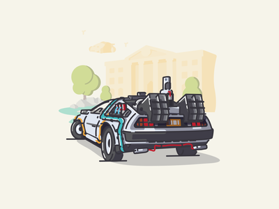 BTTF Delorean Redesign hill valley delorean bttf icon vector linework illustration