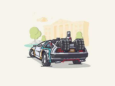 BTTF Delorean Redesign hill valley delorean bttf icon vector linework illustration