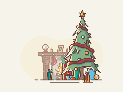 Merry Christmas europe family pine tree decoration fireplace gifts trees woods logo icon vector linework illustration christmas tree christmas