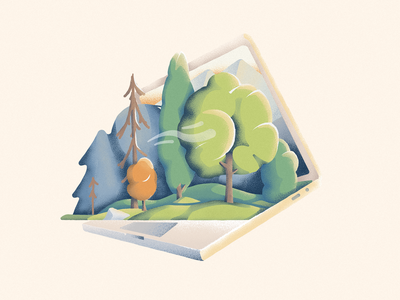 Laptop Forest textured flat illustration flat macbook laptop trees woods forest pine tree logo icon vector illustration camping