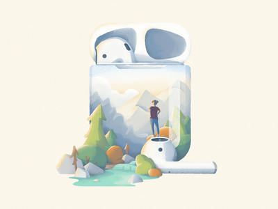 Airpods outdoors noise texture texture headphones apple identity airpods trees branding camping woods forest pine tree logo icon vector illustration