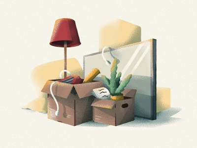 Moving Day box couch lamp tv toaster icon vector illustration rent apartment boxes moving