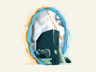 Portals companion 360 xbox games valve portal2 portal texture icon vector illustration