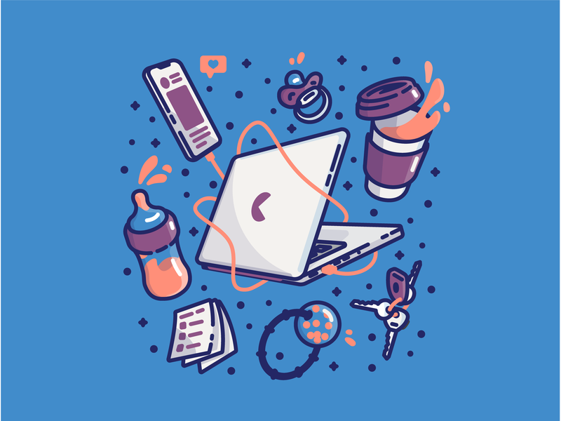 The Daily Grind icon illustraion notes pacifier cell phone coffee kids macbook notebook dailygrind