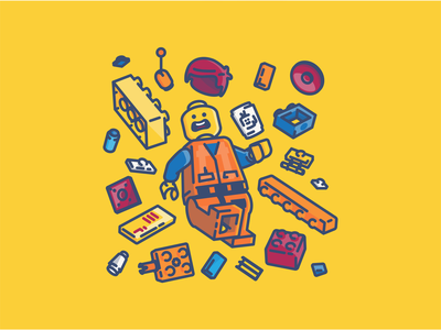 Lego Chaos linework vector colorful lego man lego pieces emmet the lego movie lego illustration icon