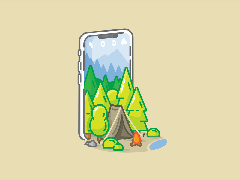 In the Woods cell phone app trees pine tree mountains tent camera phone iphone camping forest woods
