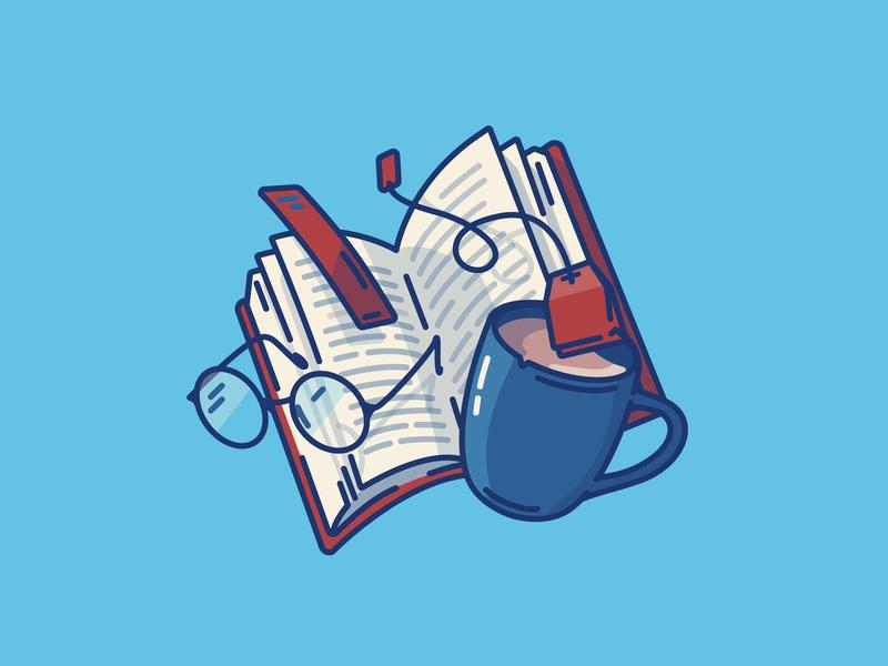 Reading is lit bookshelf bookshop pages illustration art bookmark mug nerd novel bookstore books book illustration reader tea bag tea glasses reading