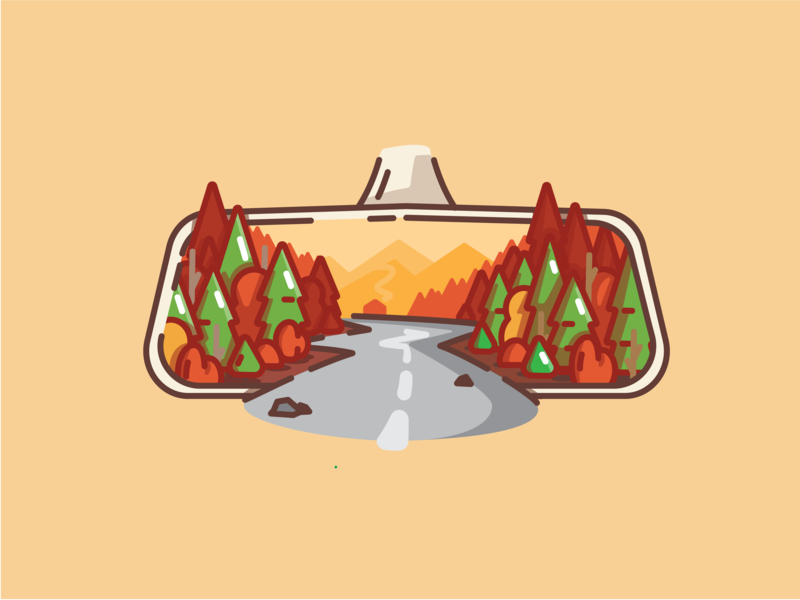 Rear Vision mirror car rear vision roadtrip road trip roadmap autumn leaves autum snow mountians cabin linework pine tree pines camping woods forest illustration