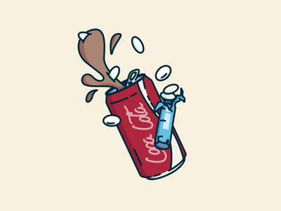 Iconic Duos - Coke & Mentos vector concept icon logo linework illustration mentos coca-cola cocacola