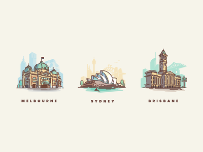 Australian Cities linework vector icons icon set illustration city illustration illustrator logo city cities brisbane melbourne sydney opera house sydney