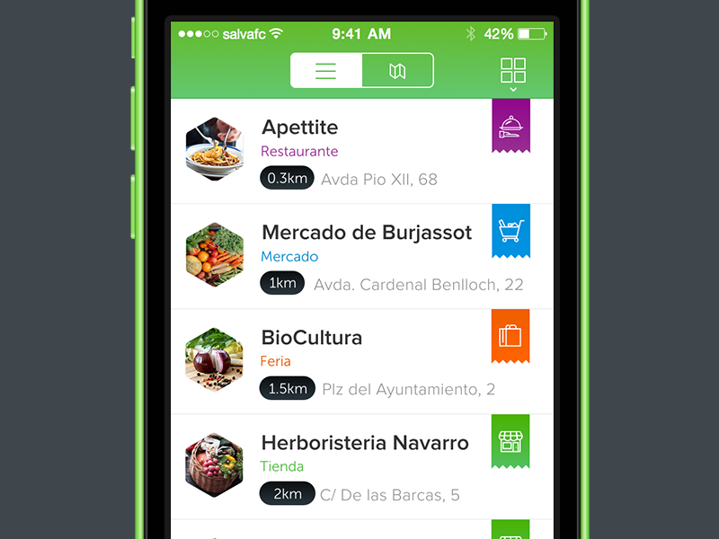 List view app list view listview iphone ios green ui ux
