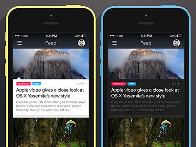 News Feed App news feed ui ux apple interface design ios iphone
