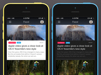 News Feed App news feed ui ux apple interface design ios iphone