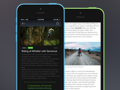 Article Opened News App news feed ui ux apple interface design ios iphone article