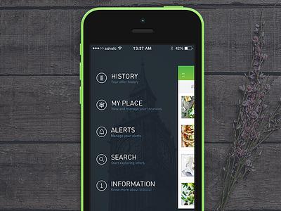 Drawer drawer app ios green hamburguer apple mobile ui