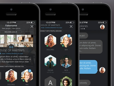Beacon Chat App ui user interface ios iphone dark app ios7 ios8 iphone5 mobile mobile ui chat