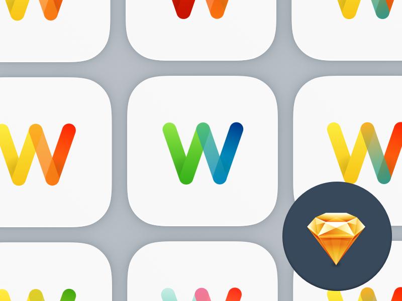W App Icon freebie download sketch app icon