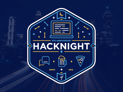 Hacknight Badge night blue logo local sticker badge hacknight