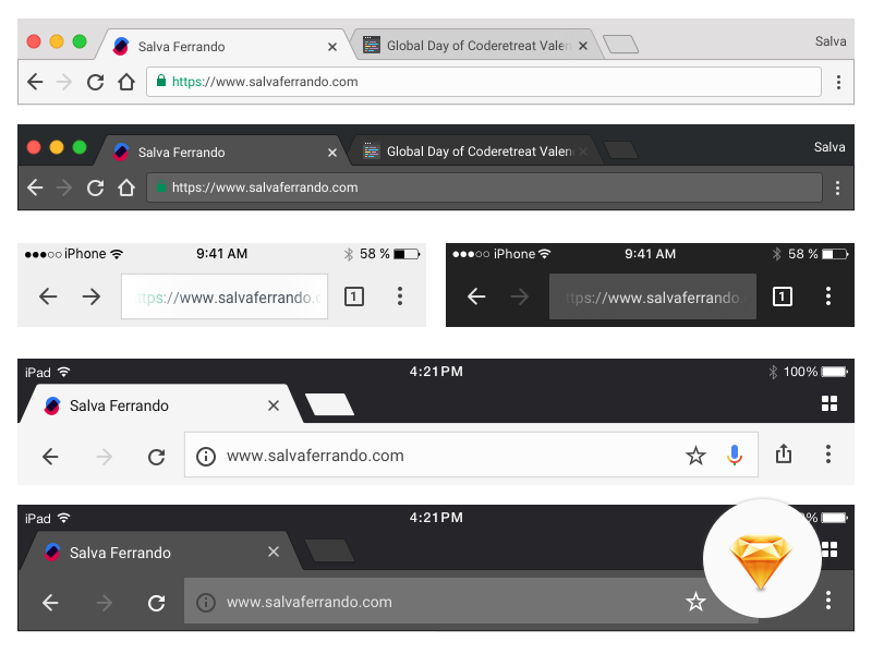 Chrome Browser UI ui freeee chrome gui interface download sketch freebie