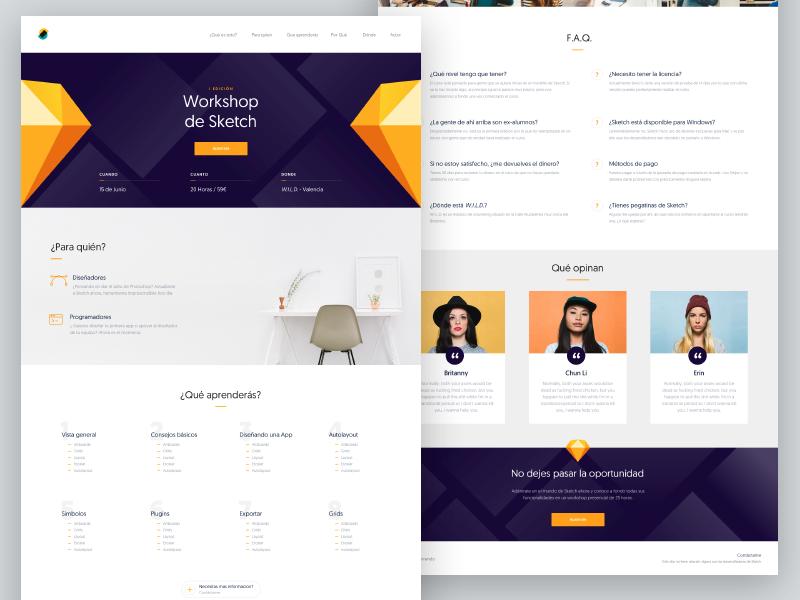 Sketch Workshop orange developers designers testimonials website design workshop sketch