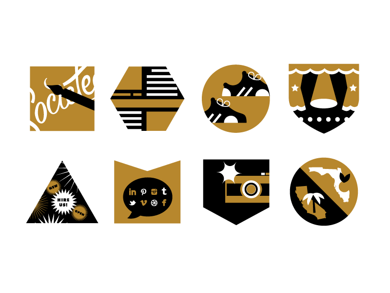 Icons icons gold shoes camera layout lettering california florida stage self-promo gold and black social media