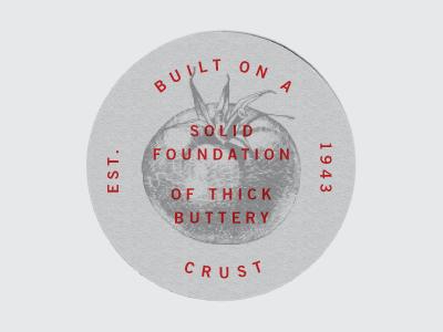 Coaster type typography coaster tomato engraved illustration