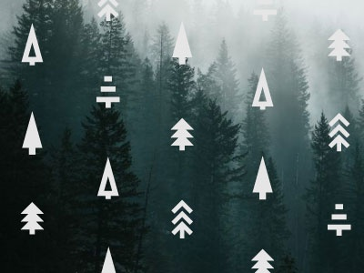 Geometric Evergreens icons pattern geometric shapes triangles line art