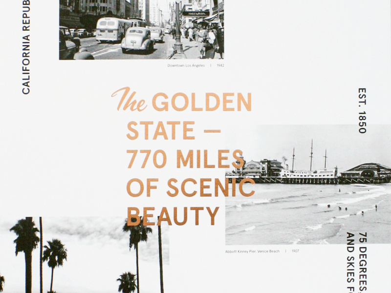 Vintage California beach foil stamped palm trees cali collage copper photography vintage socal typography print california