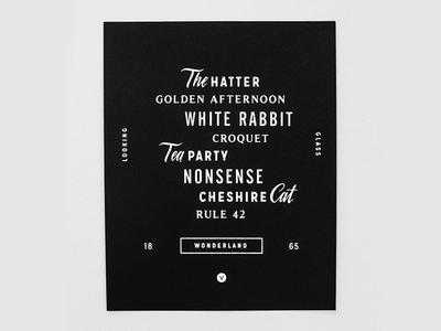 Nonsense variety show nonsense screenprint print typography cheshire cat tea party wonderland alice