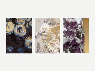 Postcards gold foil print florals florist