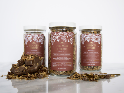 Sommer House Chocolate gold foil rust illustration chocolate packaging granola