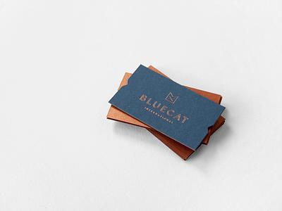 Bluecat foil stamp business cards cat copper bluecat print