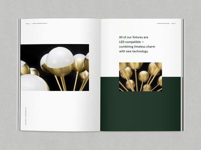 Lucent Catalog look book green emerald lighting catalog layout