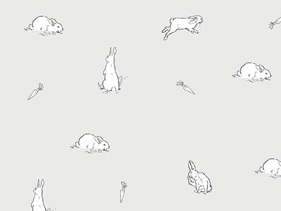 Rabbits pattern vintage bunny rabbit illustration