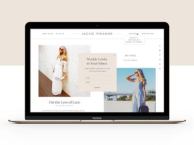 Jackie Miranne Site color blocking blush nude layout typography blogger blog fashion website