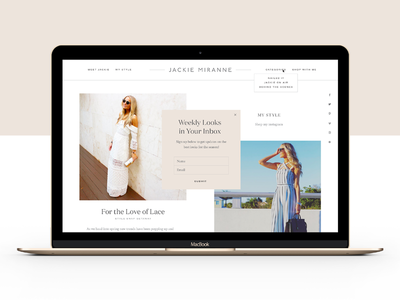 Jackie Miranne Site color blocking blush nude layout typography blogger blog fashion website