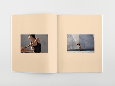 Solid Peach color blocking editorial publication spread layout promo self photography