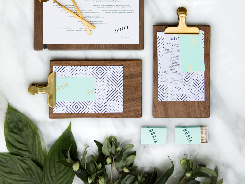 Baldoria Collateral cards business matchbox collateral print menu clipboard presenter check restaurant