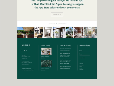 Aspire web design real estate content typography grid layout footer website
