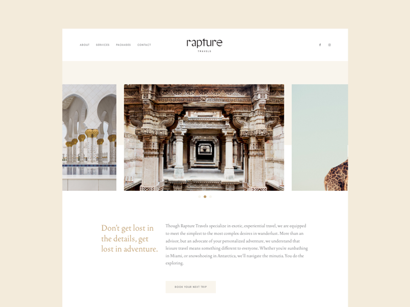 Rapture Website brand identity minimal cream layout web agency website travel branding
