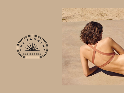 Tanning Brand california beach skin nude tanning sunset agave logo sun