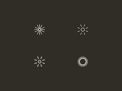 Suns logo design brand identity sunburst sunbeams sunrise shapes geometric branding mark icon logo sun