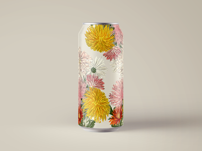 Floral Can Mockup packaging beverage drink daisies yellow aluminum can soda botanicals florals vintage illustration